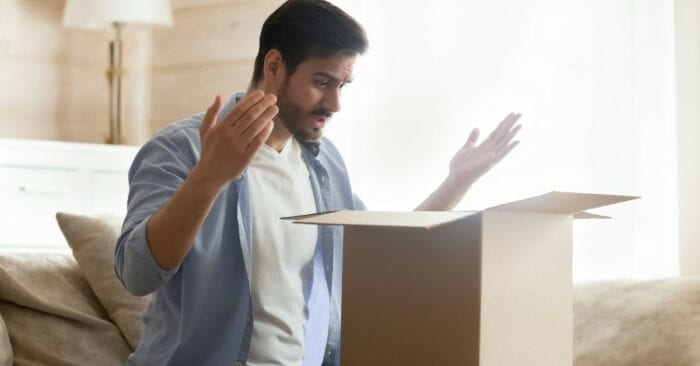 man unhappy with box delivery