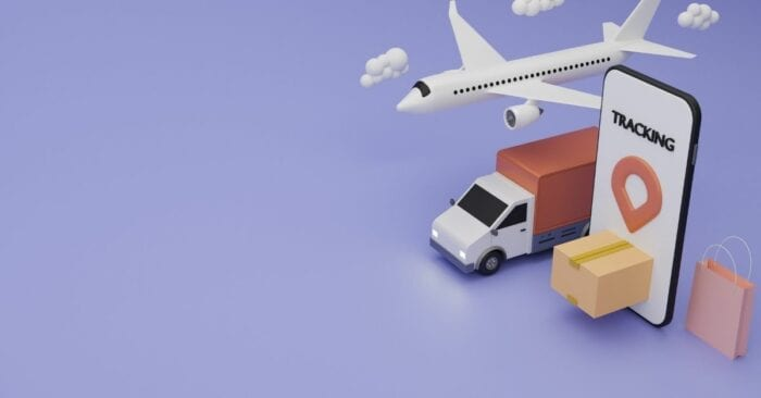 cartoon visualization of logistics with truck and plane