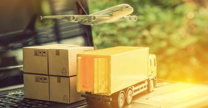 visualization of shipping through truck and plane