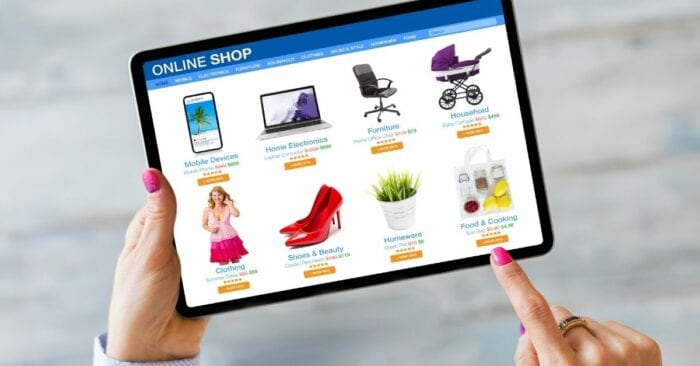 online shop on tablet