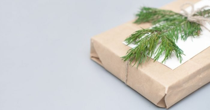 box with pine branch on top